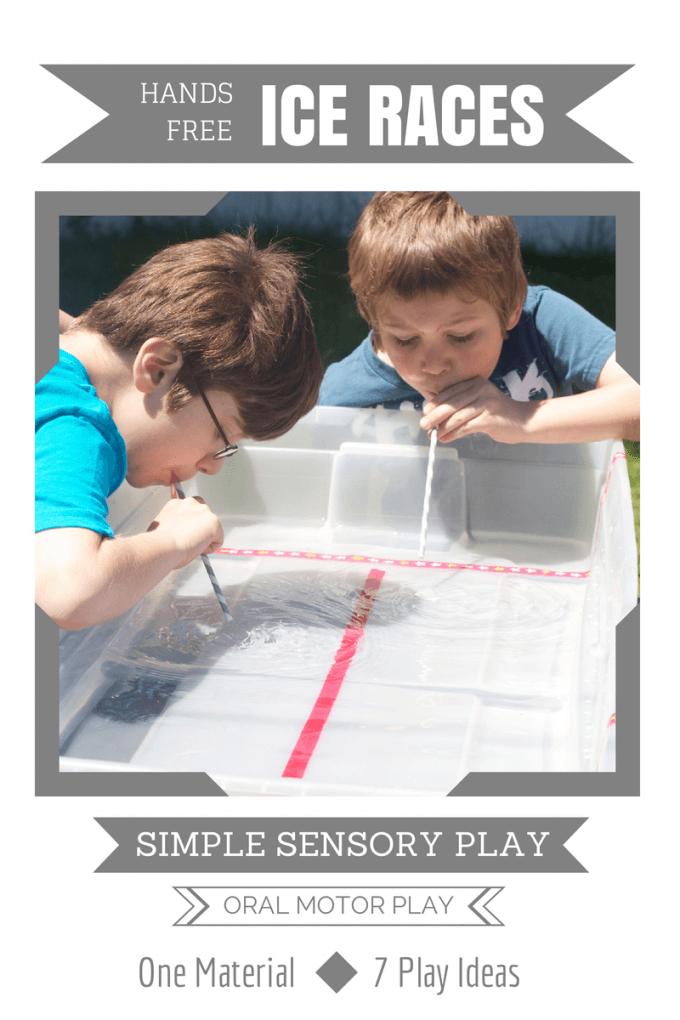Simple Sensory Play Hands Free Ice Cube Race