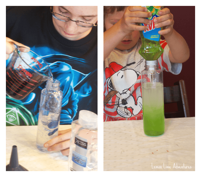 Making Sensory Bottles for Science Experiments.