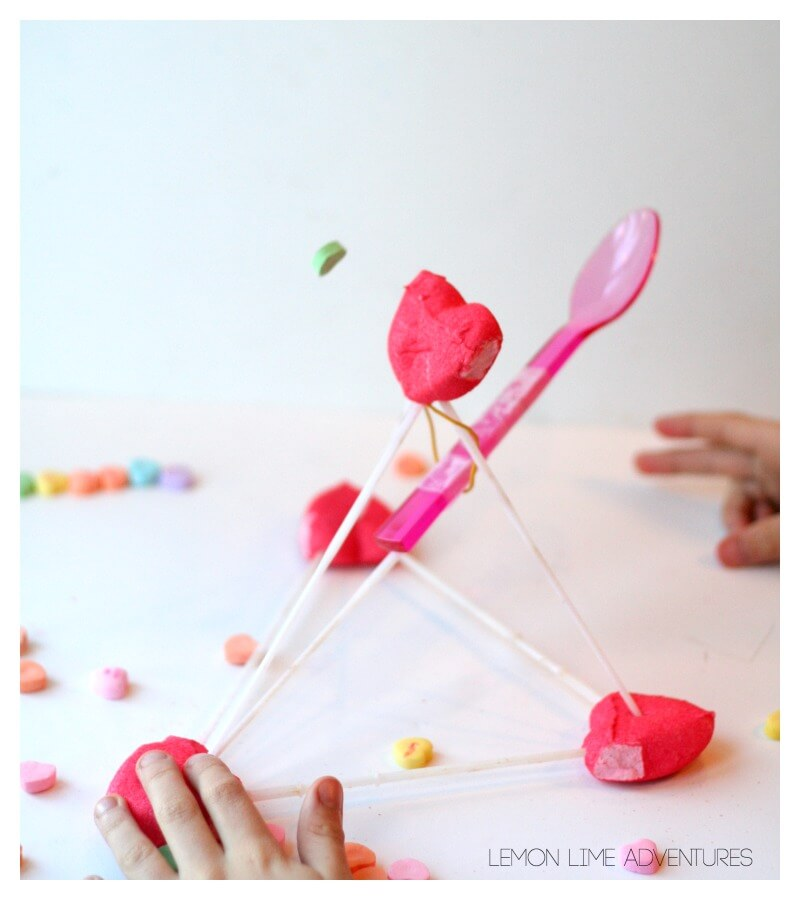 Catapult with Peeps and Candy Hearts
