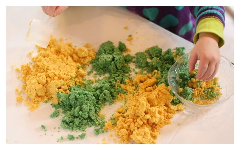 Lemon Lime Scented Cloud Dough with Toddlers