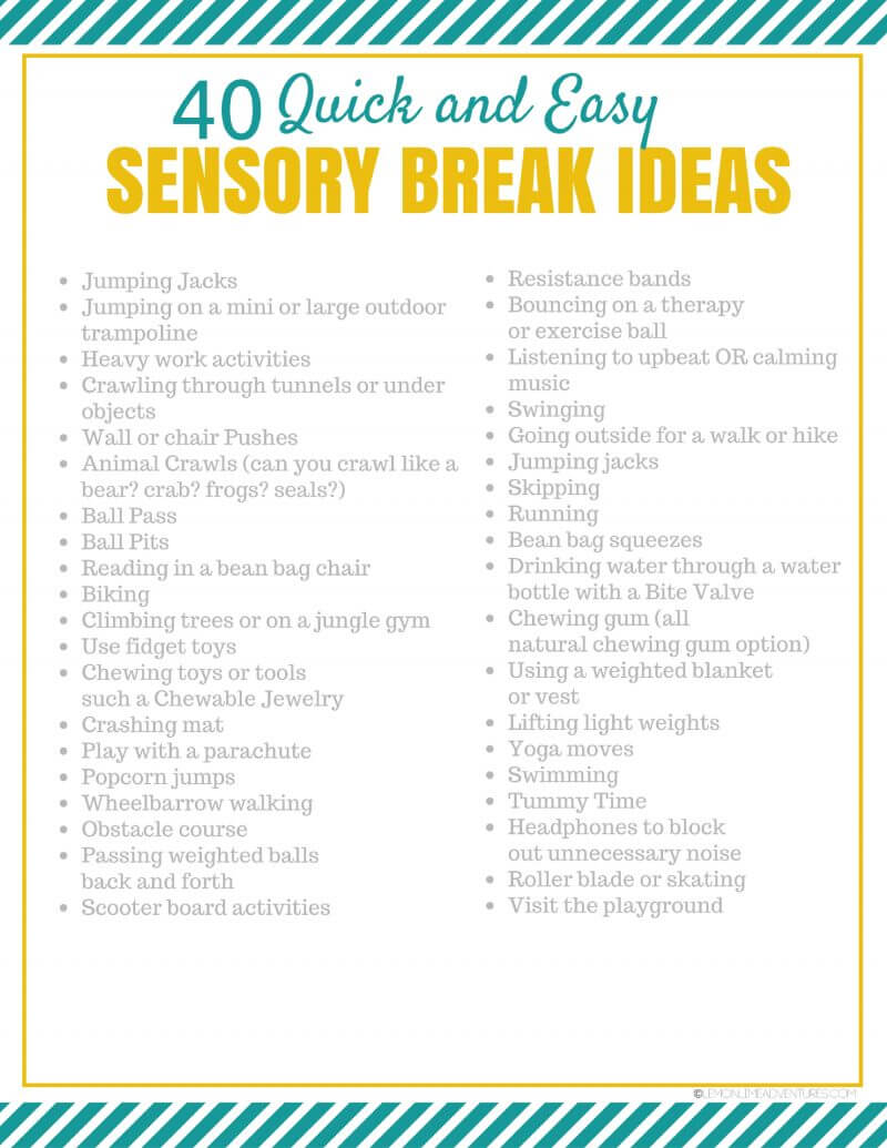 Classroom Break Ideas : Sensory break ideas for kids