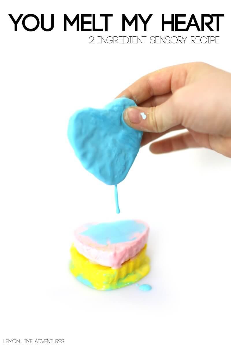 Melting 2 ingredient Sensory Recipe Melting Hearts