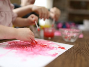Painting with Qtips for Fine Motor Practice