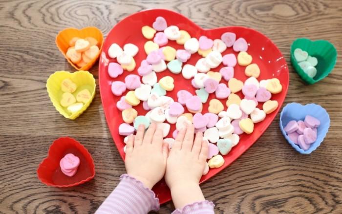 Sorting Conversation Hearts | Quick Toddler Activities