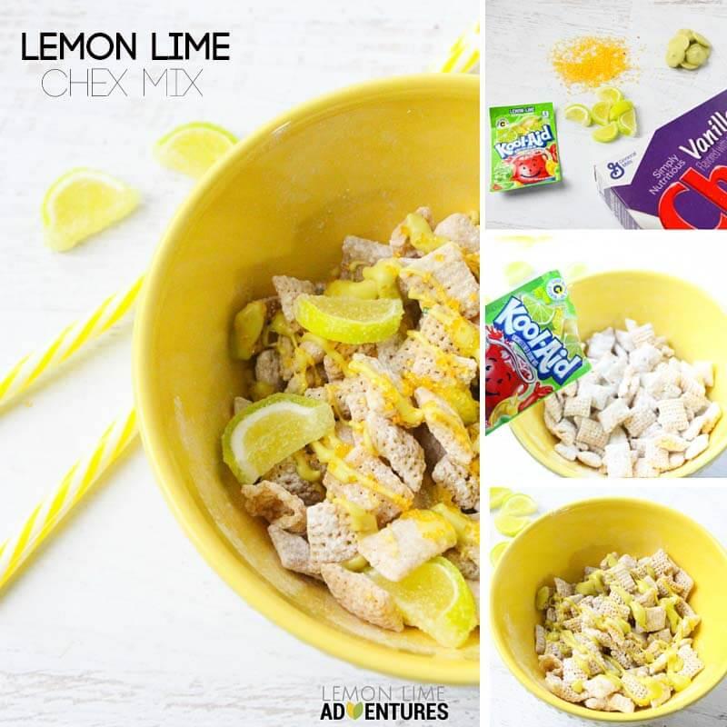 lemon lime chex mix collage