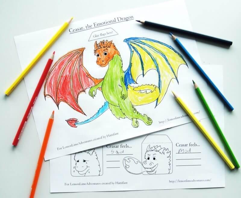 Emotions Printable for Kids Dragon Themed