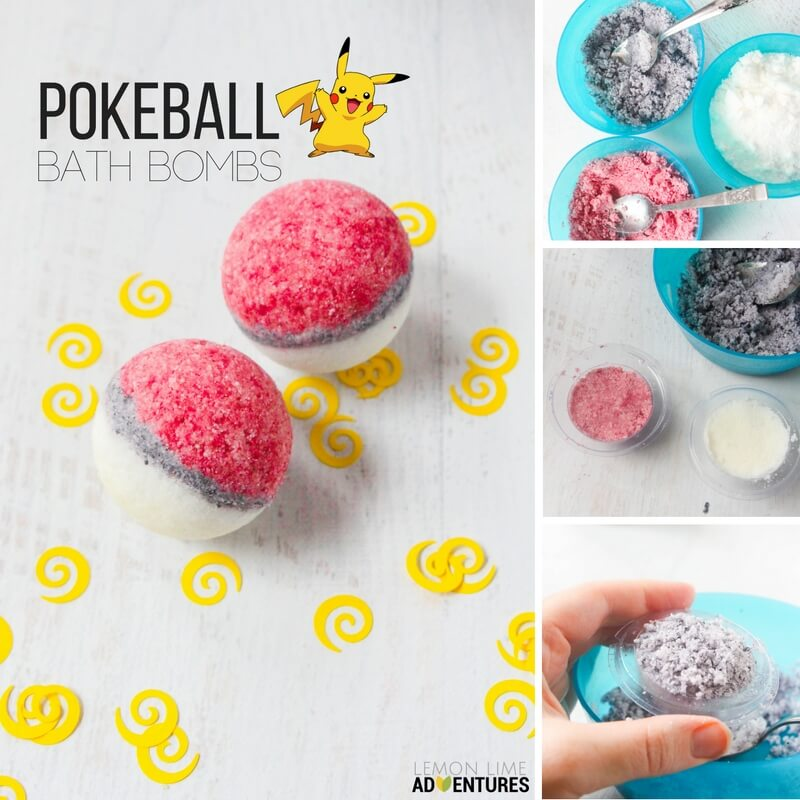 homemade pokeball bath bombs for a fun bath time
