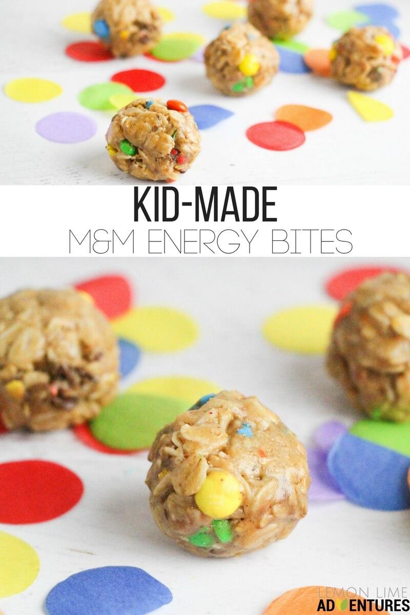 Super-simple, no-bake M&M Energy Bites that kids can help make