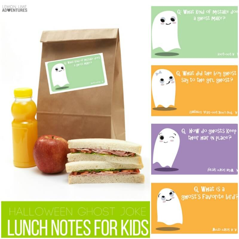 Halloween ghost joke lunch notes for kids!