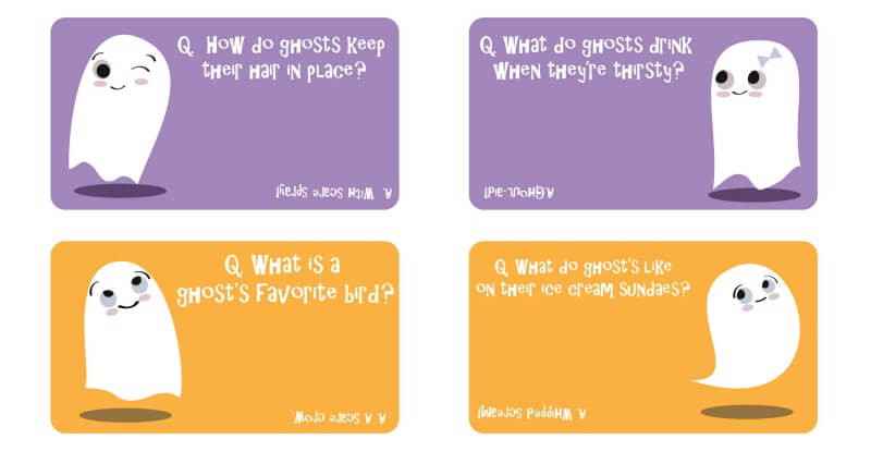 Halloween ghost joke lunch notes for kids!
