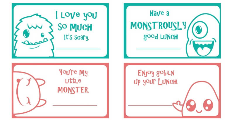 Super Simple Printable Halloween Monster Lunch Notes for Kids