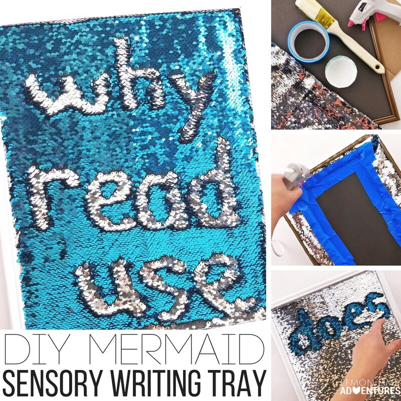 This DIY mermaid sensory writing tray is AMAZING!