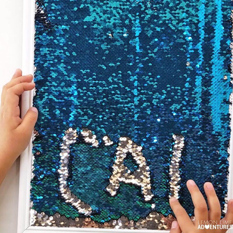 This DIY mermaid sensory writing tray is AMAZING!