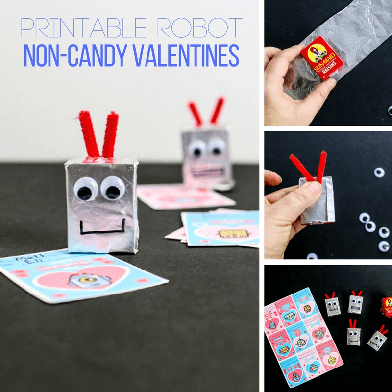 Robot Head Favor Non-Candy Printable Valentines!